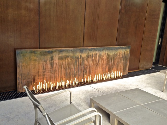 Linear Fire Feature Contemporary Living Room Detroit