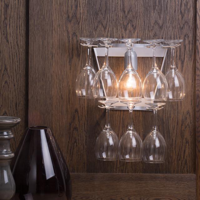 litecraft 2 tier wine glass wall light silver contemporary