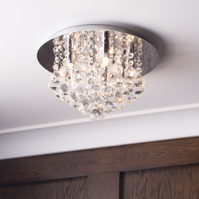 Litecraft G9 Galaxy Flush Ceiling Light   Chrome Contemporary Living Room