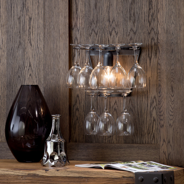 Black Rustic Wall Lights : Litecraft Wine Glass Wall Light - Black - Rustic - Living Room - Manchester - by Litecraft