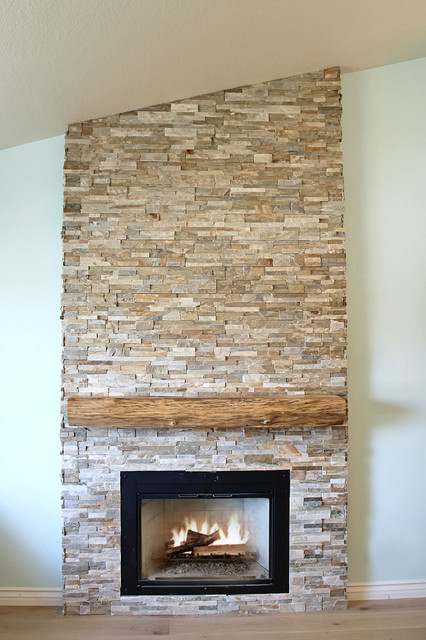 Live Edge Mantel Contemporary Living Room Los