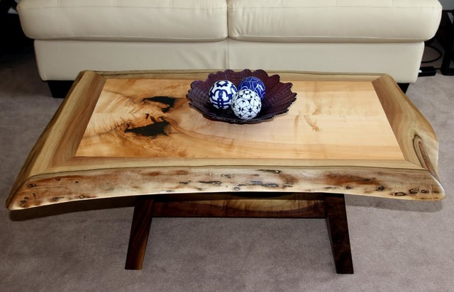 Live Edge Wood Slab Coffee Tables Toronto Ontario Contemporary Living Room