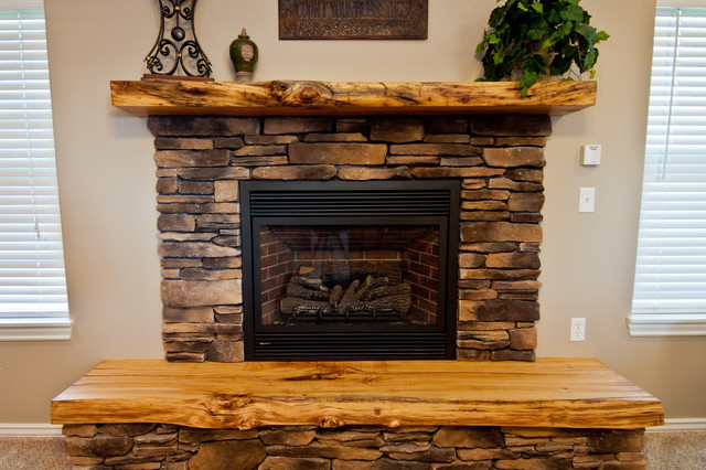 Lived Edge Mantel And Hearth Rustic Living Room
