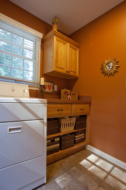 Laundry Room With Shelf Storage for Baskets traditional-laundry-room