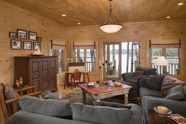 living area in rustic round log home rustic living room atlanta by sisson dupont carder. Black Bedroom Furniture Sets. Home Design Ideas