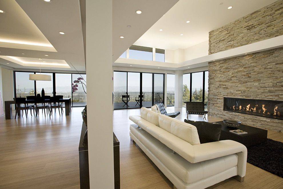 Inspiration for a large contemporary light wood floor living room remodel in San Francisco with a stone fireplace, white walls, a ribbon fireplace and no tv