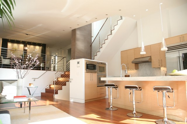 Living kitchen dining modern living room san for Dining room under stairs
