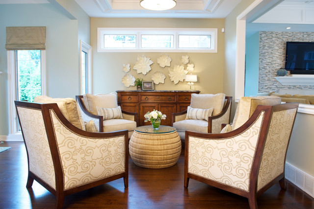Living on the lake traditional living room cleveland for Living room seating arrangements
