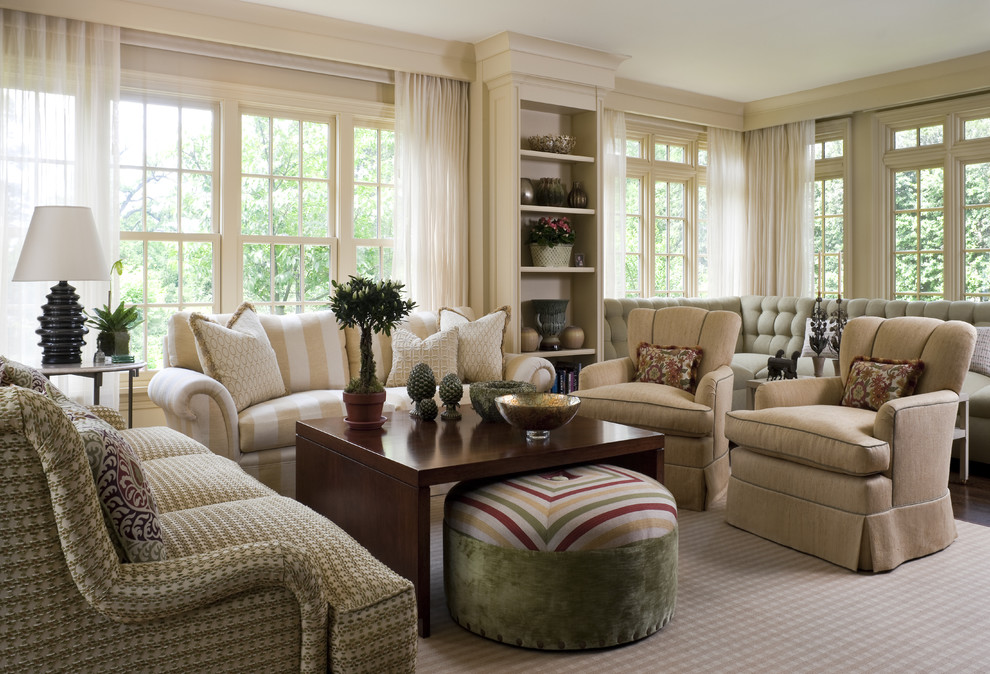 Inspiration for a huge timeless living room remodel in New York with beige walls