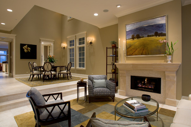 Elegant Living Room Photo In Chicago With A Stone Fireplace