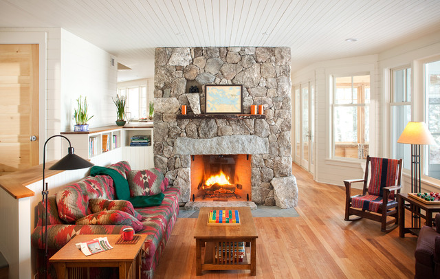 Living Room   Traditional Living Room Idea In Boston With A Stone Fireplace