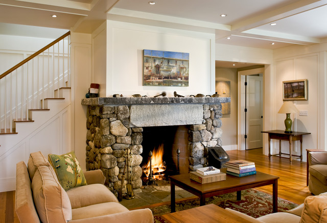 Living Room And Fireplace Farmhouse