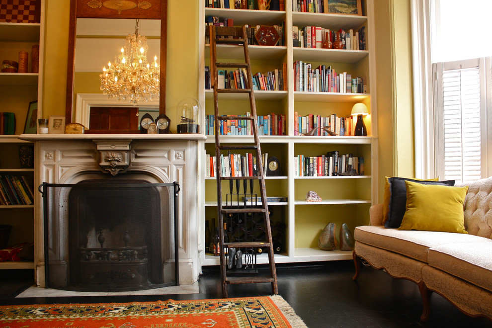 Example of an ornate living room library design in San Francisco