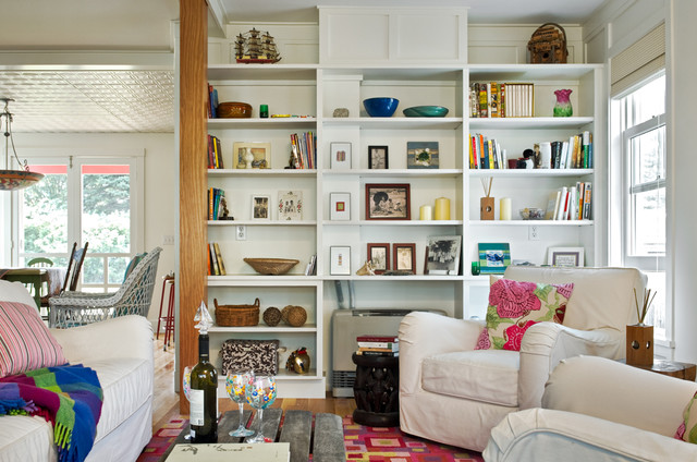 Good Beach Style Living Room Library Idea In Portland Maine With White Walls Part 30