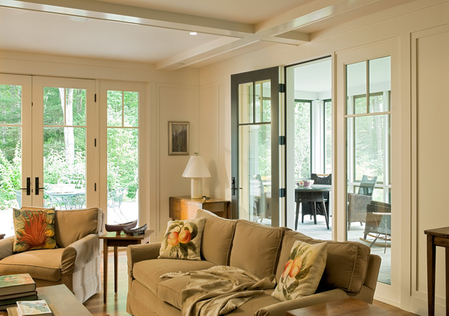 Living room - country living room idea in Portland Maine