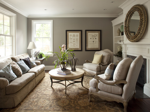 great gray benjamin moore rockport gray traditional living room - Great Living Room Paint Colors