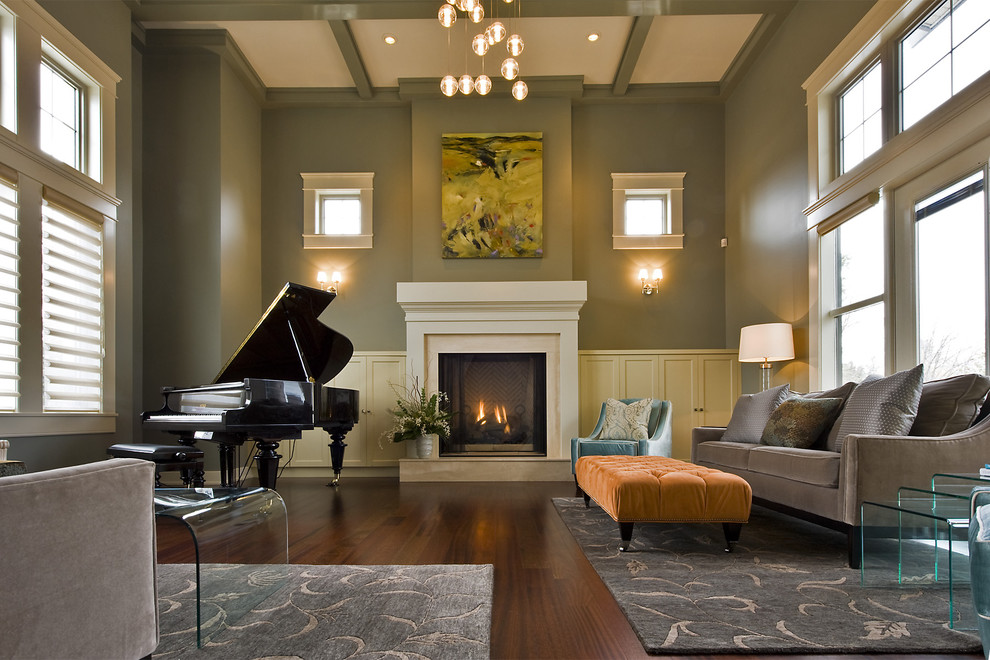 Example of a trendy living room design in Vancouver with a music area