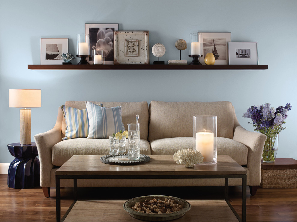 This is an example of a beach style living room in Orange County.