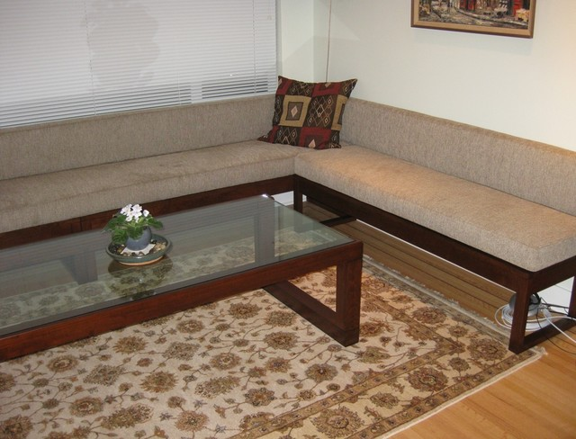 Living room bench seating and coffee table - contemporary - living ...