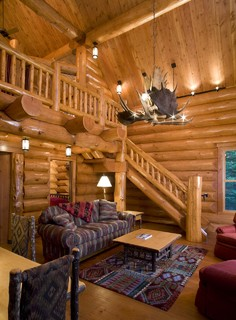 moose antler chandelier log home