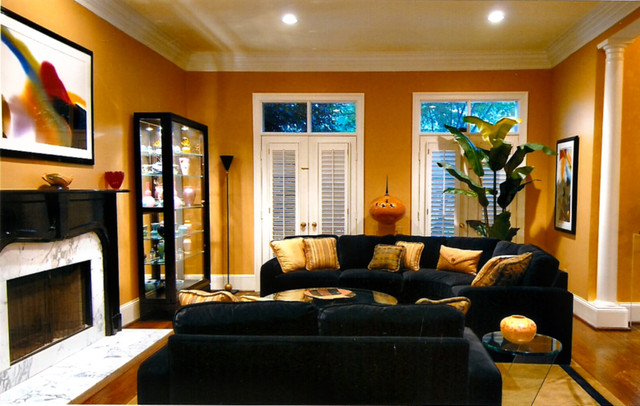 Living room black and gold tones for Black gold interior design