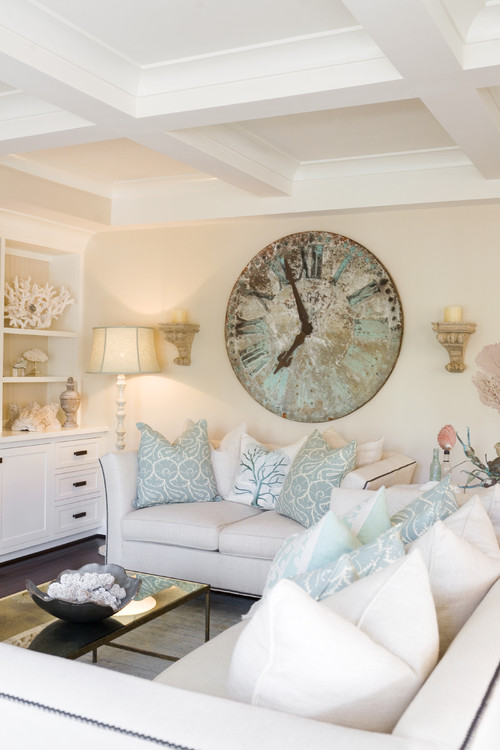 Crazy for wall clocks town country living - Beach style living room ...