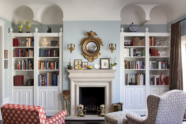 Living room bookcases eclectic living room san francisco by thomas rex hardy aia for Bookshelves ideas living rooms