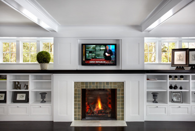 Living Room Bookshelves With TV Exposed Traditional