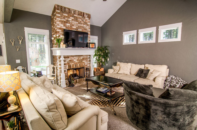 Living Room Brick Fireplace With Wood Wrapped Mantle