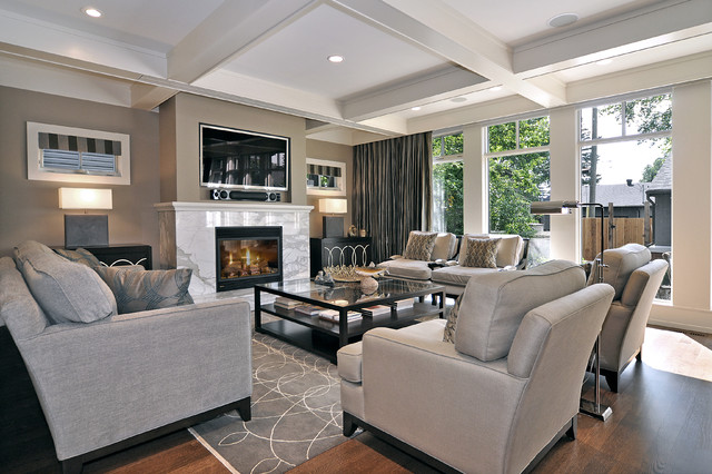 Inspiration For A Transitional Medium Tone Wood Floor And Brown Floor Living  Room Remodel In Calgary