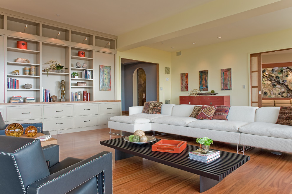 Trendy living room library photo in Boston