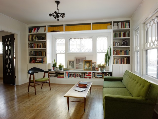 Eclectic Enclosed Living Room Library Photo In Wichita With White Walls