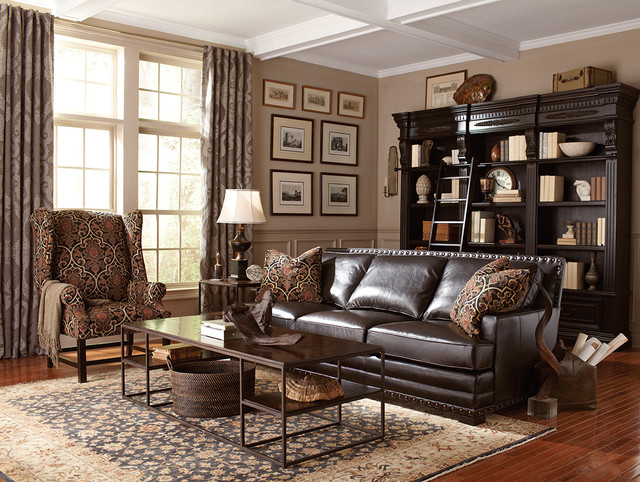 living room cantor leather sofa by bernhardt  traditional,