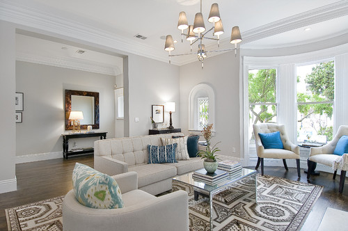 The Blue Pillows Help Us Spot The Slight Hint Of Cool In The Color:  Traditional Living Room ...