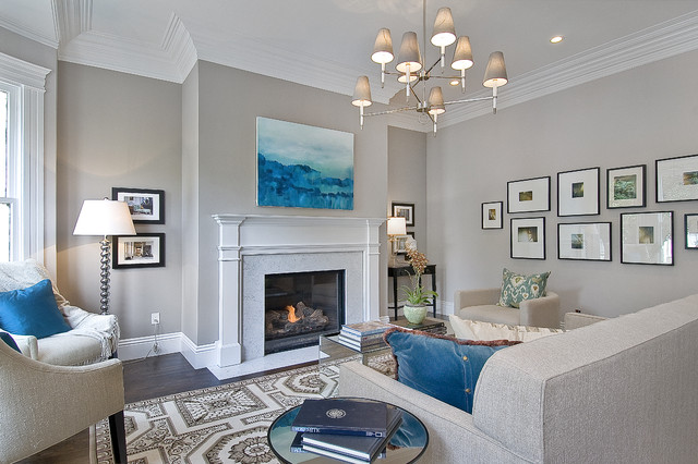 Elegant formal living room photo in San Francisco with gray walls, a standard fireplace and no tv
