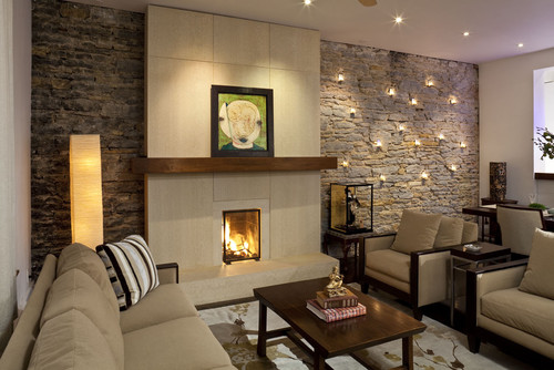 Are the lights on the stone wall electric candles thanks for Casa art de la table