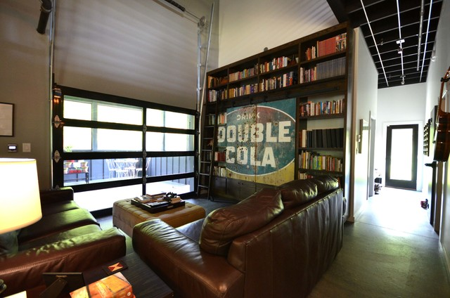 Living Room connected to screen porch via a garage door - Industrial ...