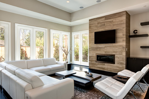 - What Is The Material Used For The Fireplace? Tile, Reclaimed Wood Etc?
