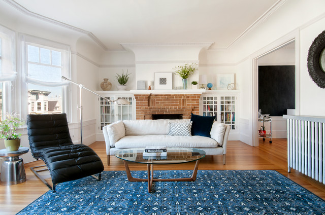 Transitional Living Room With Coastal Vibe And Blue: San Francisco