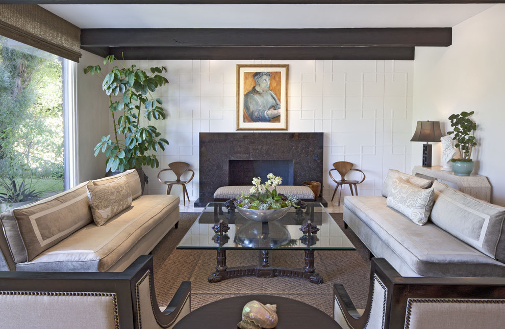 Inspiration for a mid-sized contemporary formal and enclosed living room remodel in Los Angeles with no tv, white walls, a standard fireplace and a tile fireplace