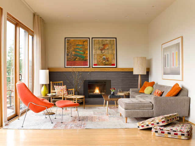 1950s Open Concept Light Wood Floor Living Room Photo In Seattle With A  Tile Fireplace,