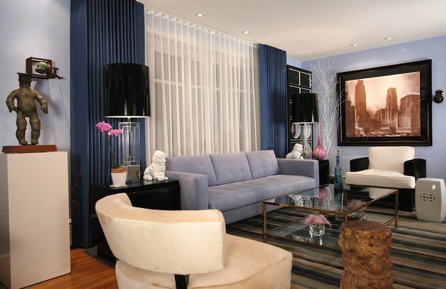 Eclectic Medium Tone Wood Floor Living Room Idea In Charleston With Blue Walls