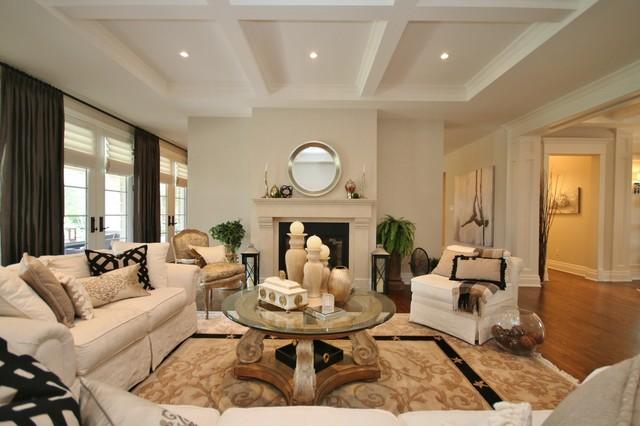 Living Room Drapes Hunter Douglas Romans Farrow Ball Skimming Stone Traditional