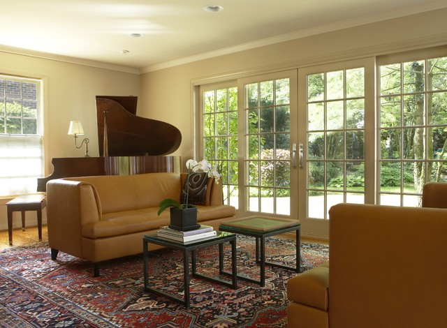 Inspiration For An Eclectic Living Room Remodel In Detroit With A Music  Area And Beige Walls