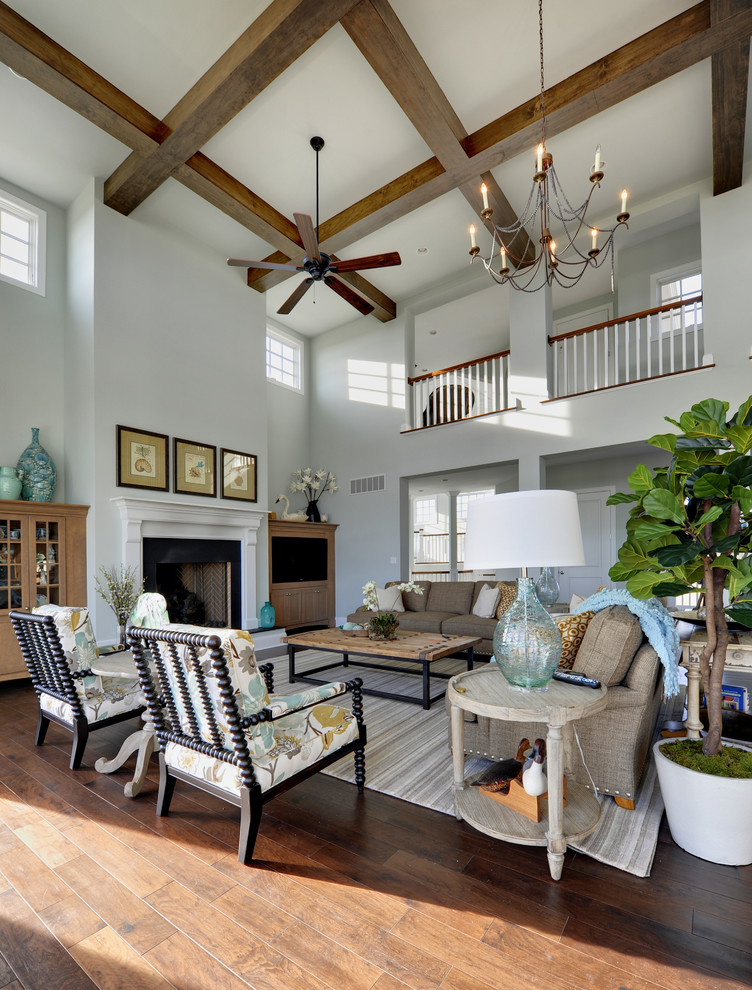 Living room - huge traditional living room idea in Philadelphia with white walls