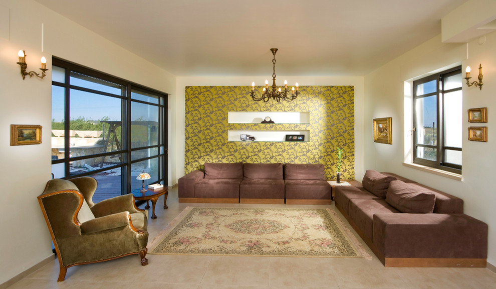 Living room - large eclectic enclosed living room idea in Other with beige walls