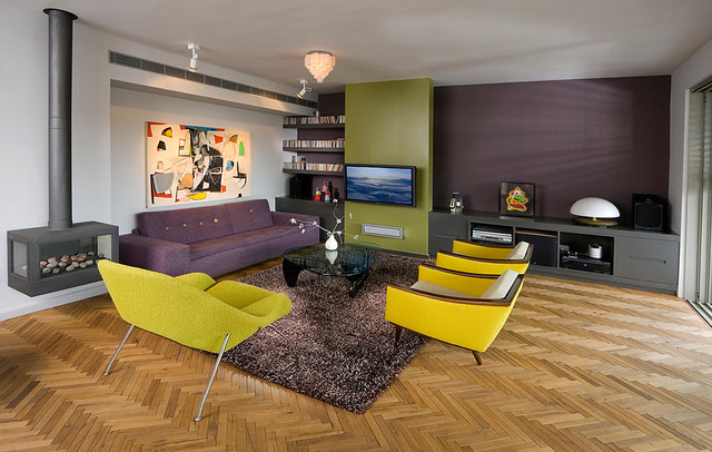 1950s Medium Tone Wood Floor Living Room Idea In Other With Purple Walls  And A Hanging Part 28