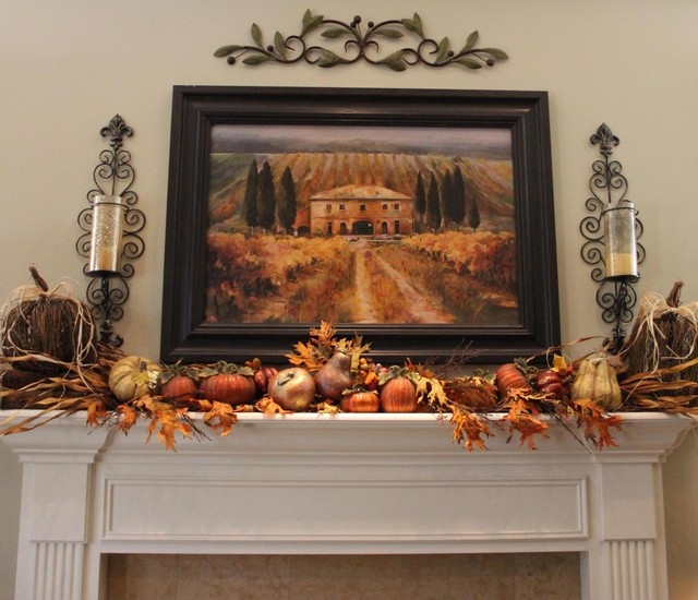 Living Room Fall Mantle Traditional Living Room Seattle