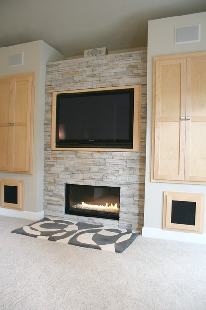 Living Room + Fireplace + Built In Cabinet Detail Modern Living Room
