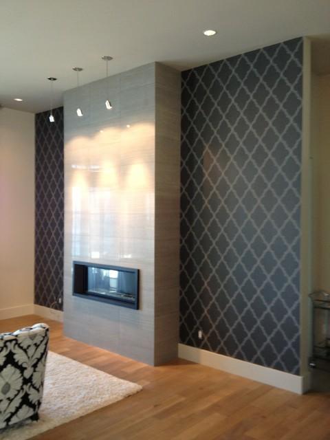 Living room fireplace feature wall contemporary living - Feature wall ideas living room wallpaper ...